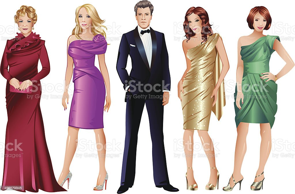 Glamour Fashion Models royalty-free stock vector art