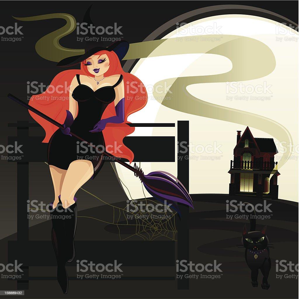Glamour Halloween Witch vector art illustration