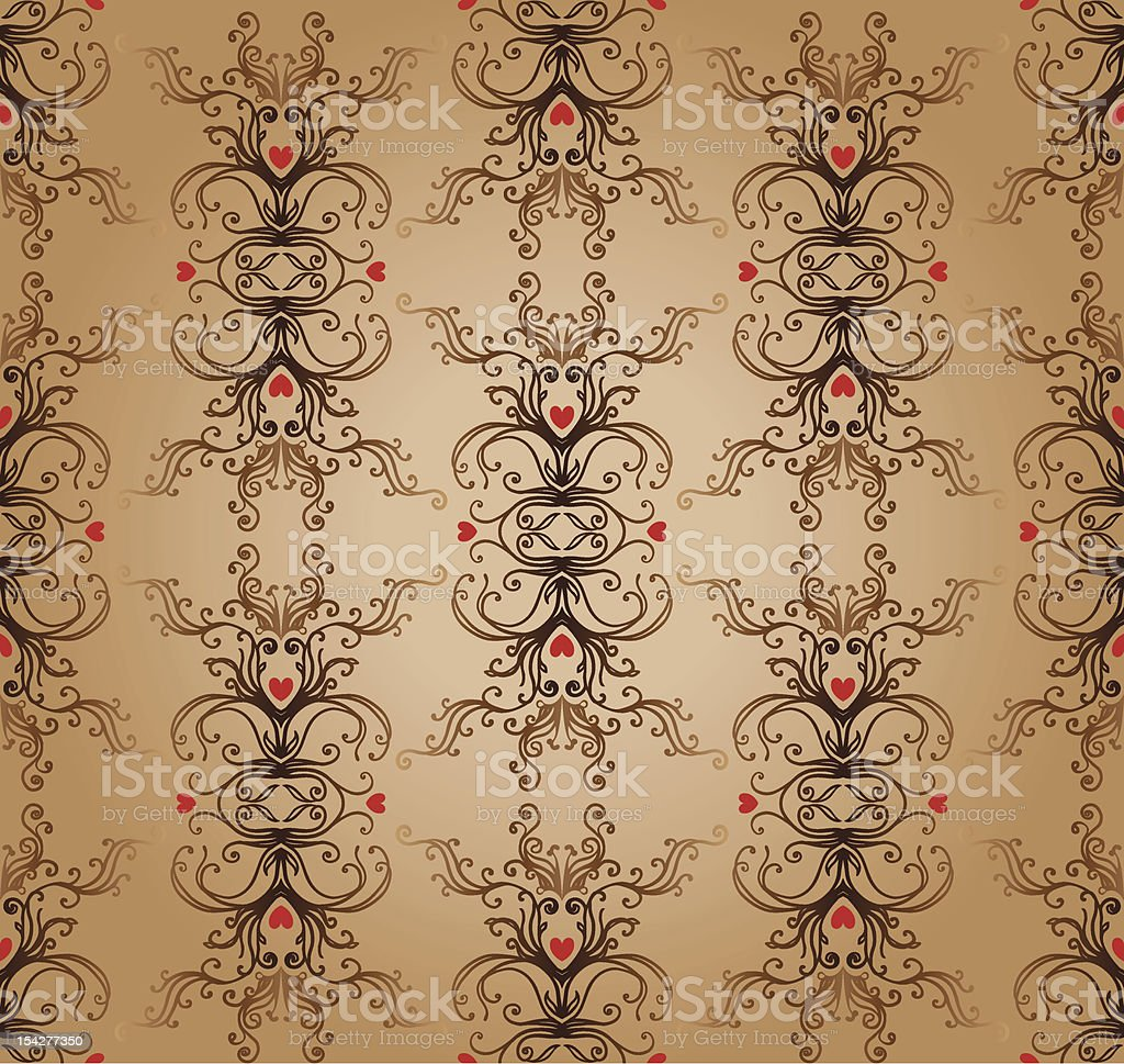 Glamour vector seamless vintage pattern with heart royalty-free stock vector art