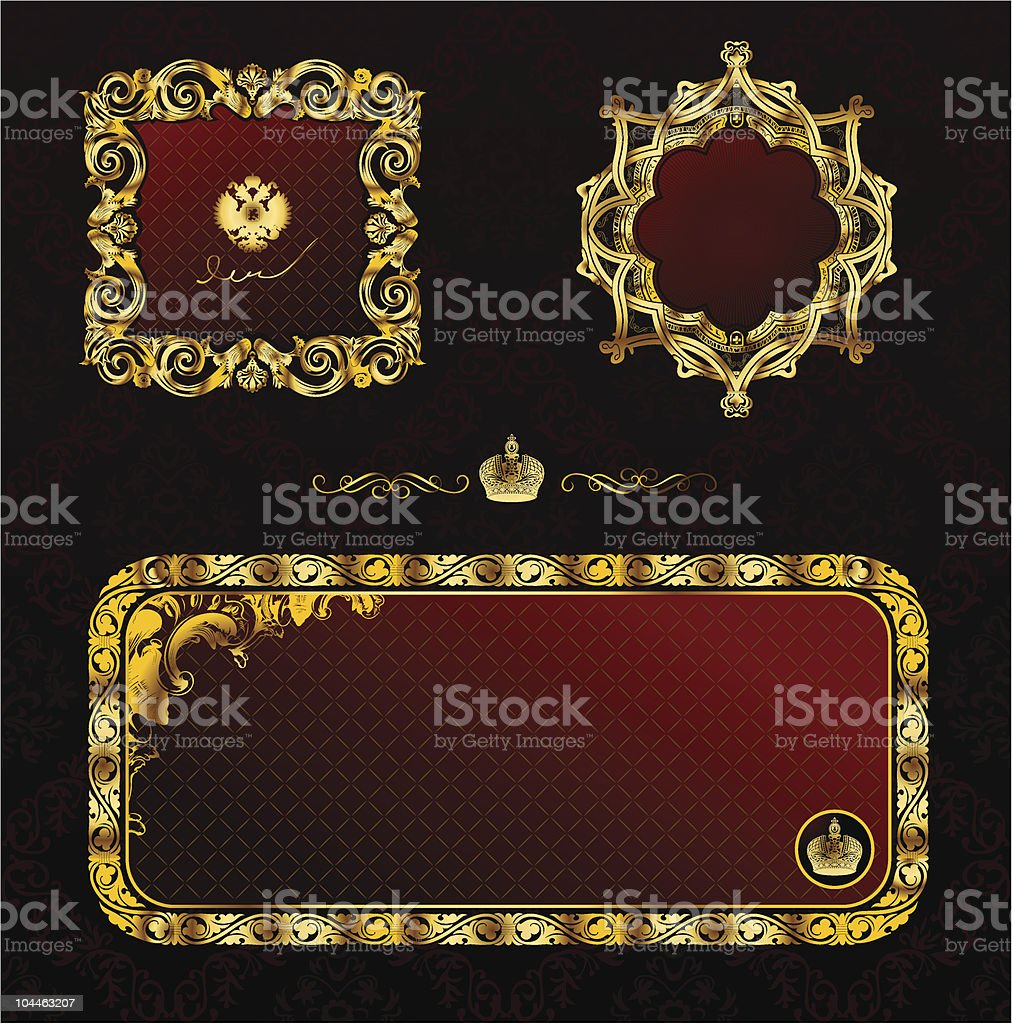 Glamour vintage gold frame decorative red black royalty-free stock vector art