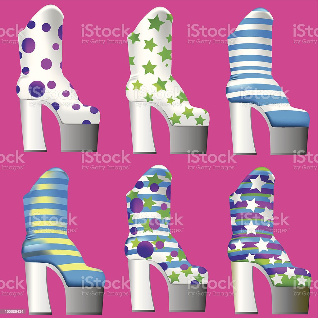 GlamRock Platteau Boots royalty-free stock vector art