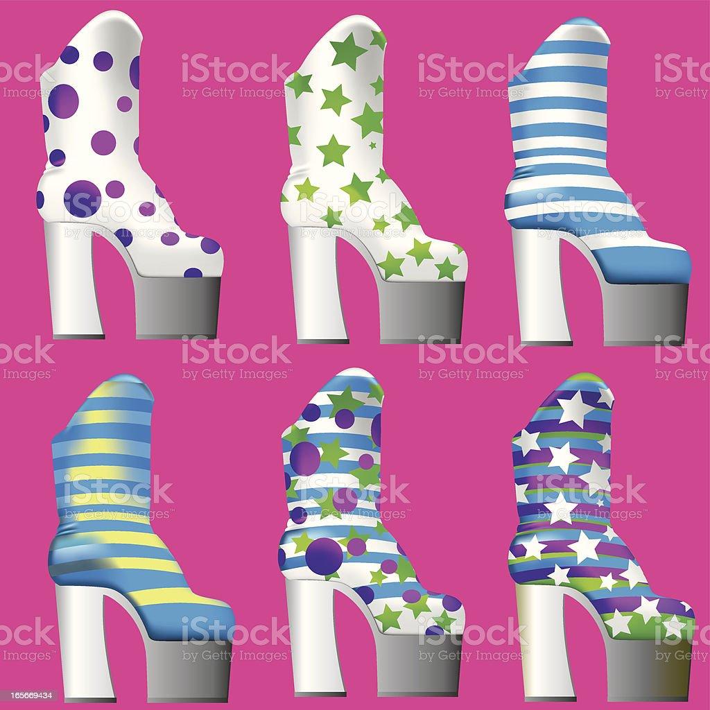 GlamRock Platteau Boots vector art illustration