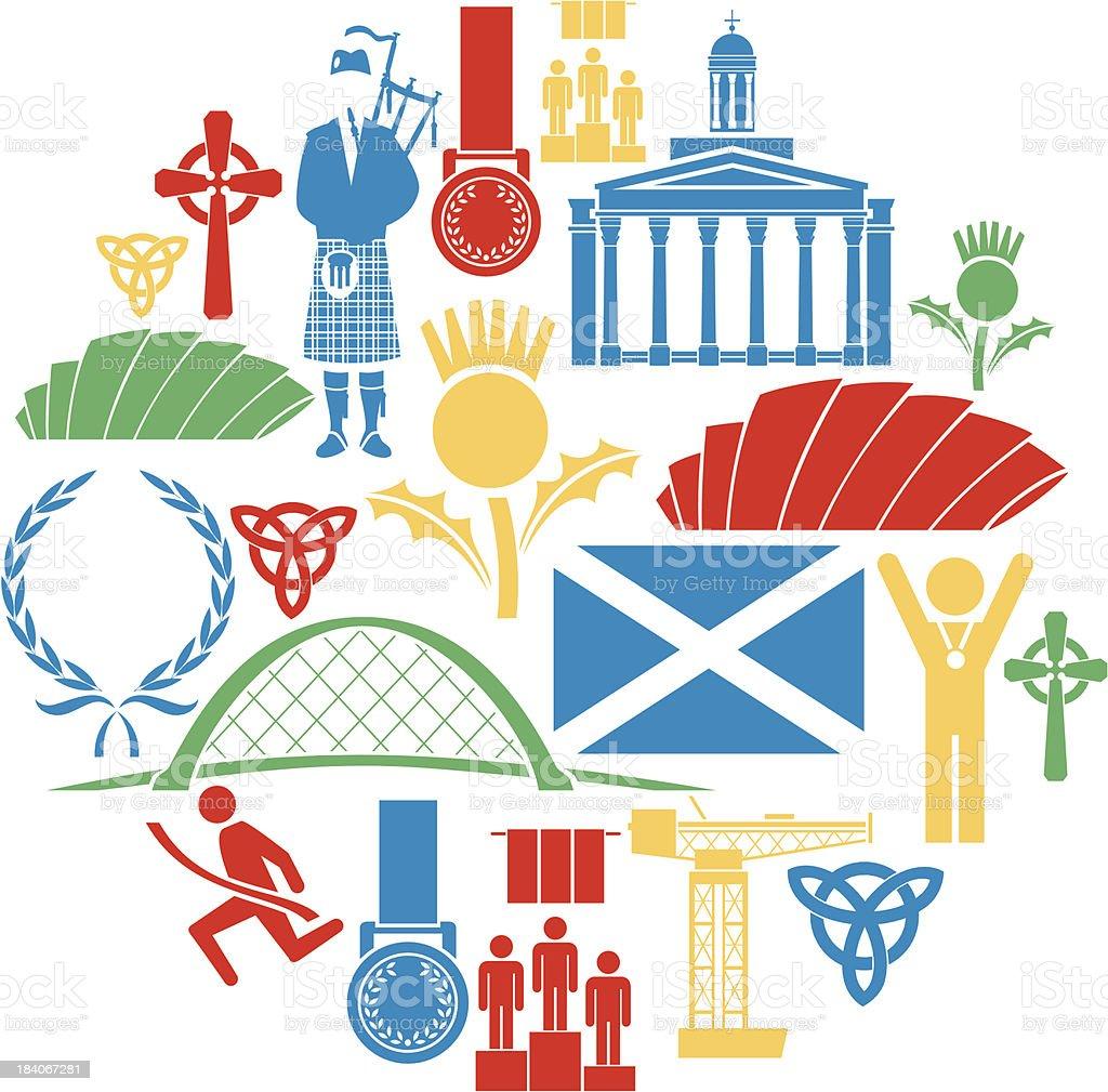 Glasgow Icon Set vector art illustration