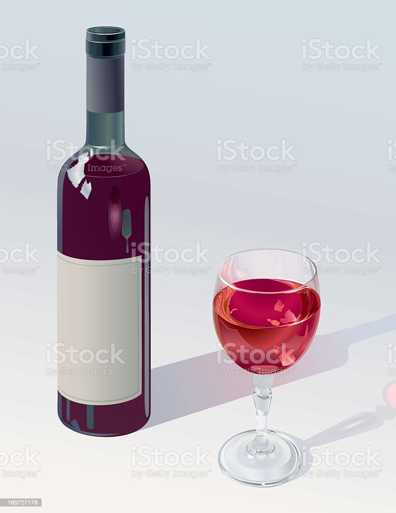 Glass And Bottle Of Red Wine vector art illustration
