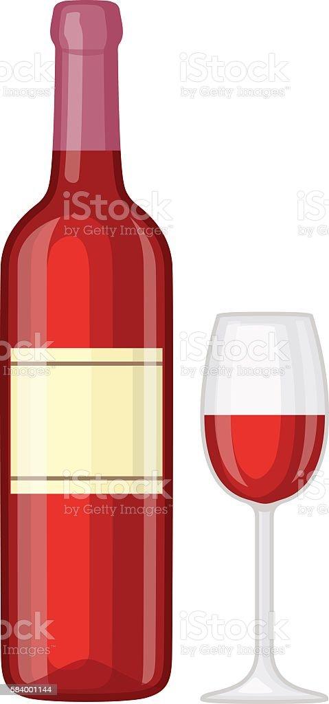Glass and bottle of wine vector illustration. vector art illustration