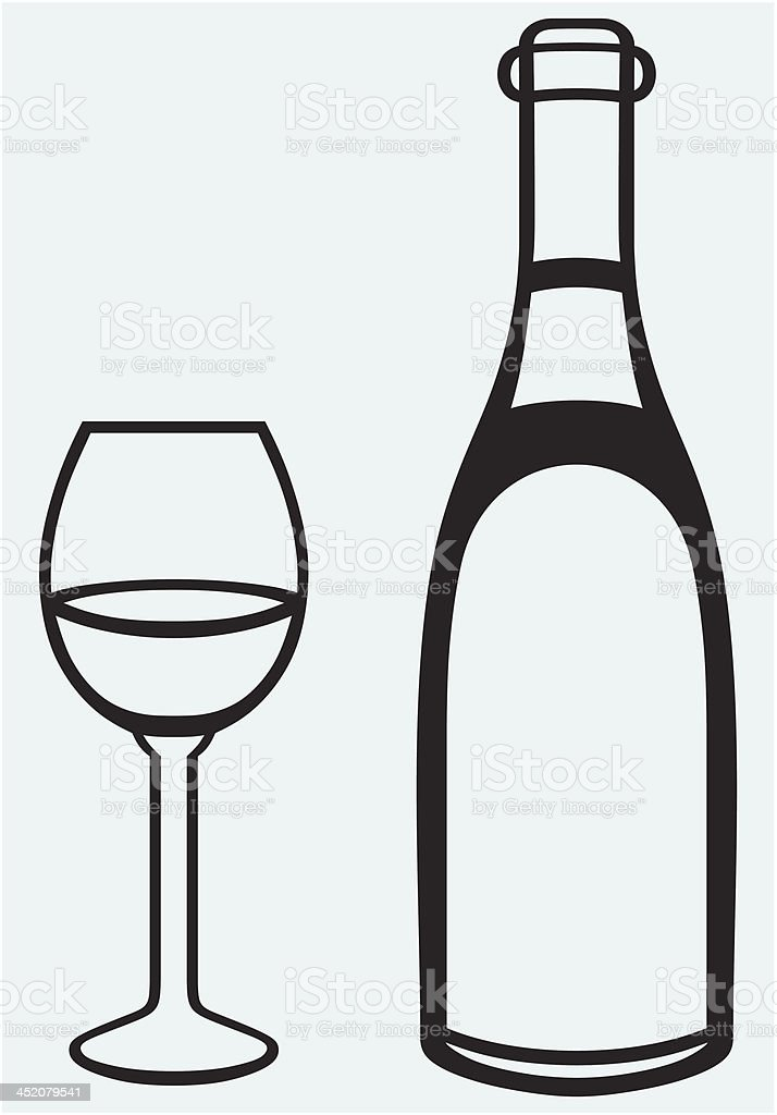Glass and bottle royalty-free stock vector art