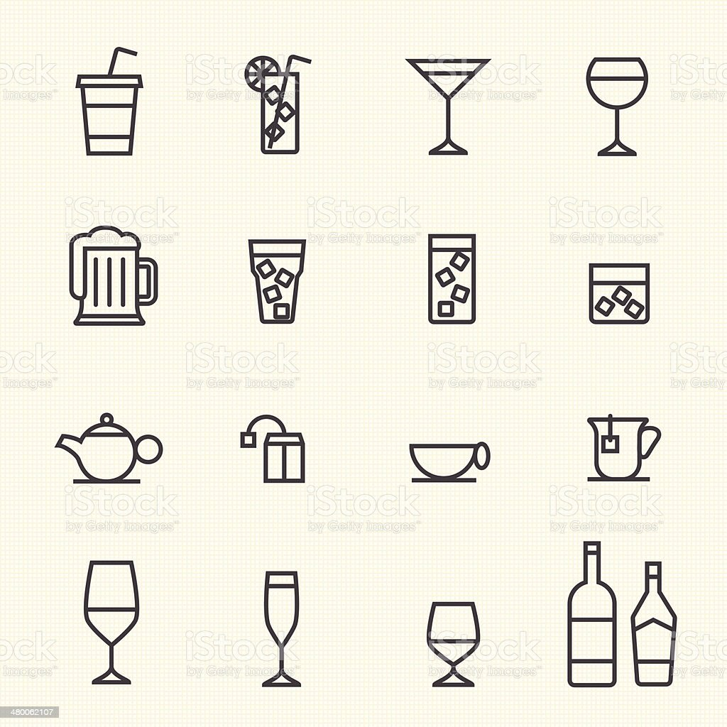 Glass and bottle vector stroked icons. vector art illustration