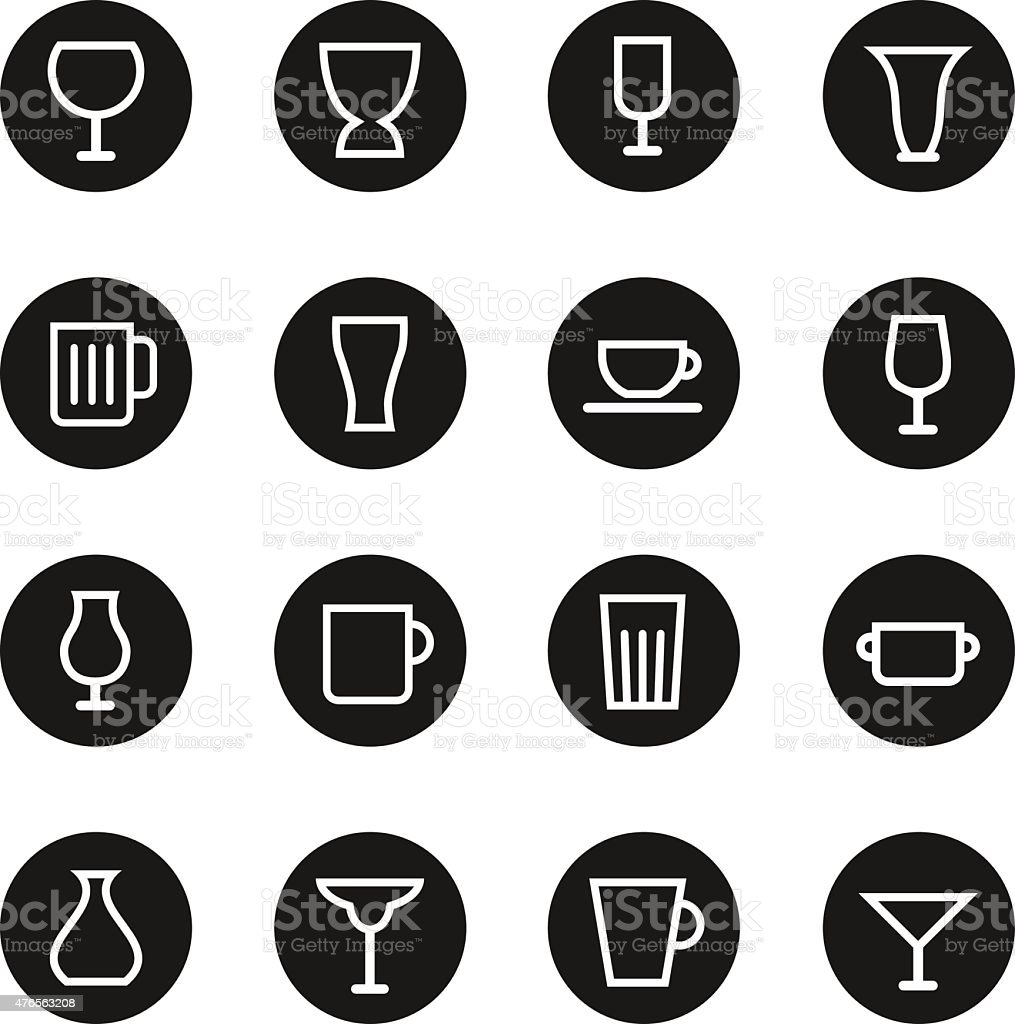 Glass and Cup Icons - Black Circle Series vector art illustration