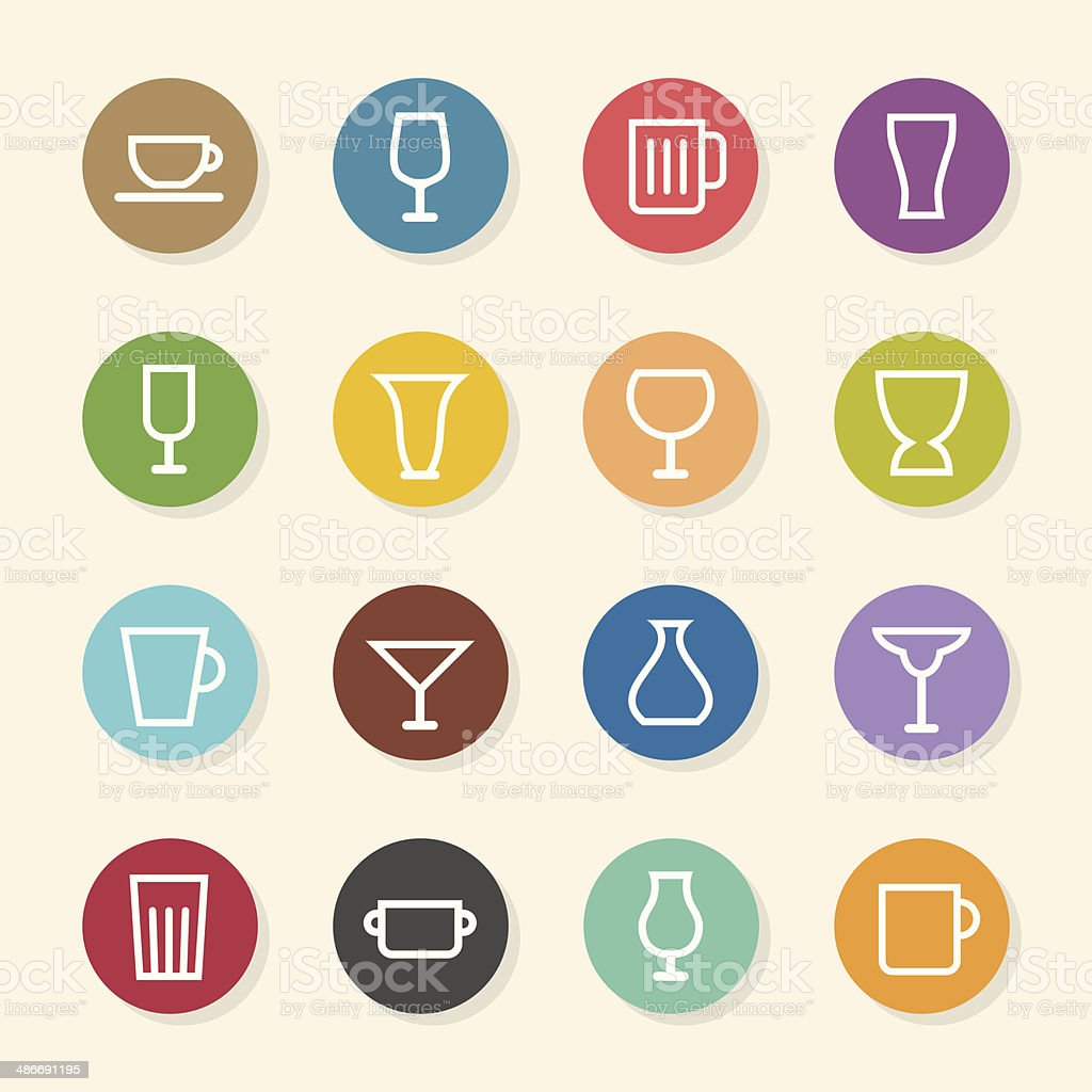 Glass and Cup Icons - Color Circle Series vector art illustration