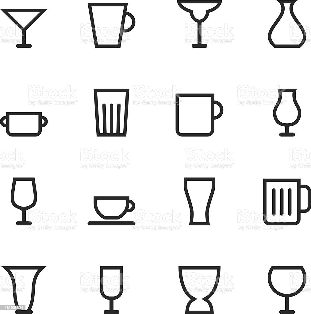 Glass and Cup Silhouette Icons vector art illustration