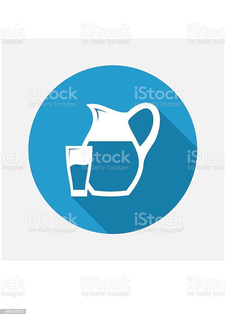 Glass and Pitcher icon. Vector Illustration. vector art illustration