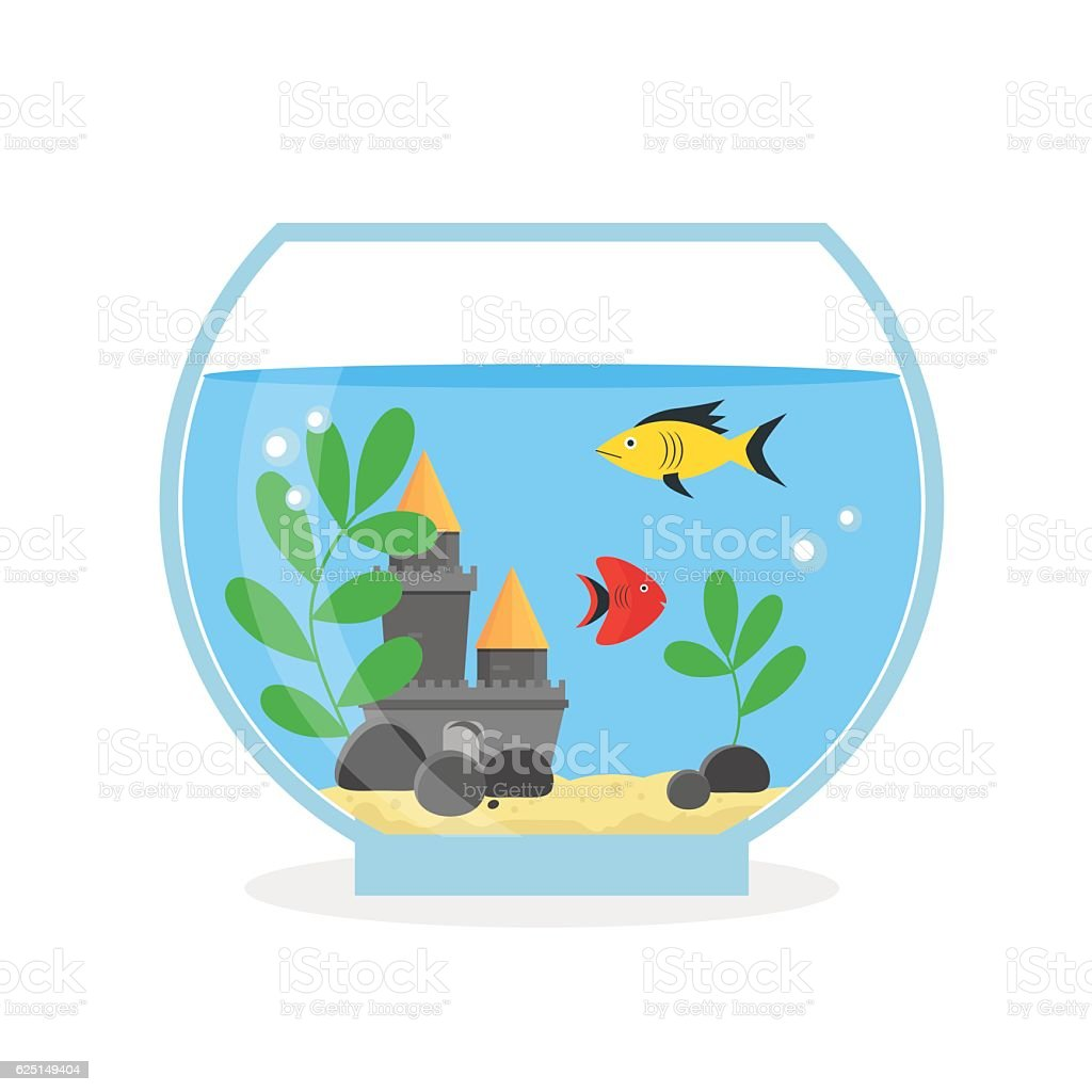 Glass Aquarium for Interior Home. Vector vector art illustration