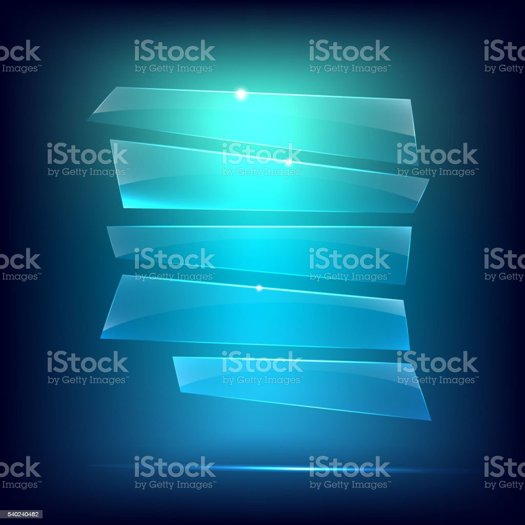 Glass background. Transparent glass plates vector art illustration