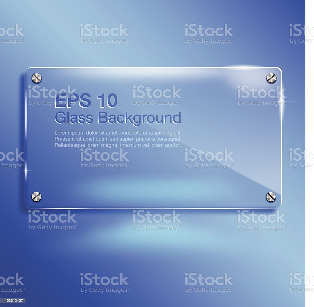 Glass Banner on Vibrant Blue Background with Copy Space vector art illustration