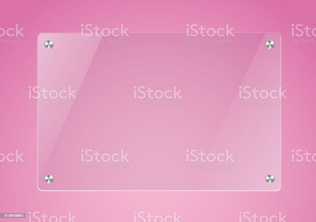 Glass board in pink backgorund vector art illustration
