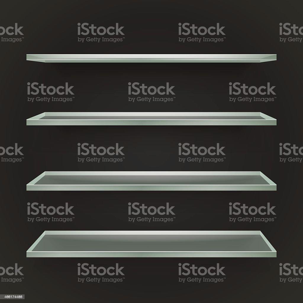 Glass Bookshelves vector art illustration