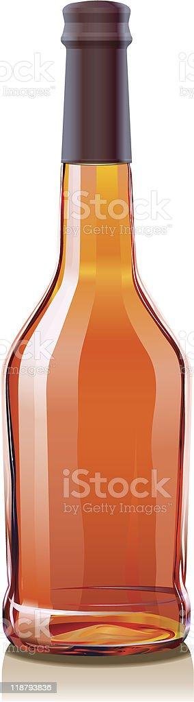 Glass Bottle for Cognac or Brandy vector art illustration