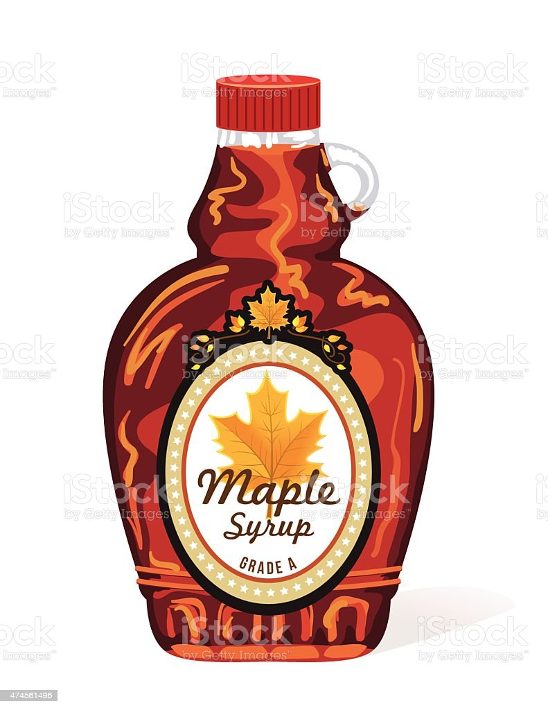 Glass Bottle Of Real Maple Syrup vector art illustration