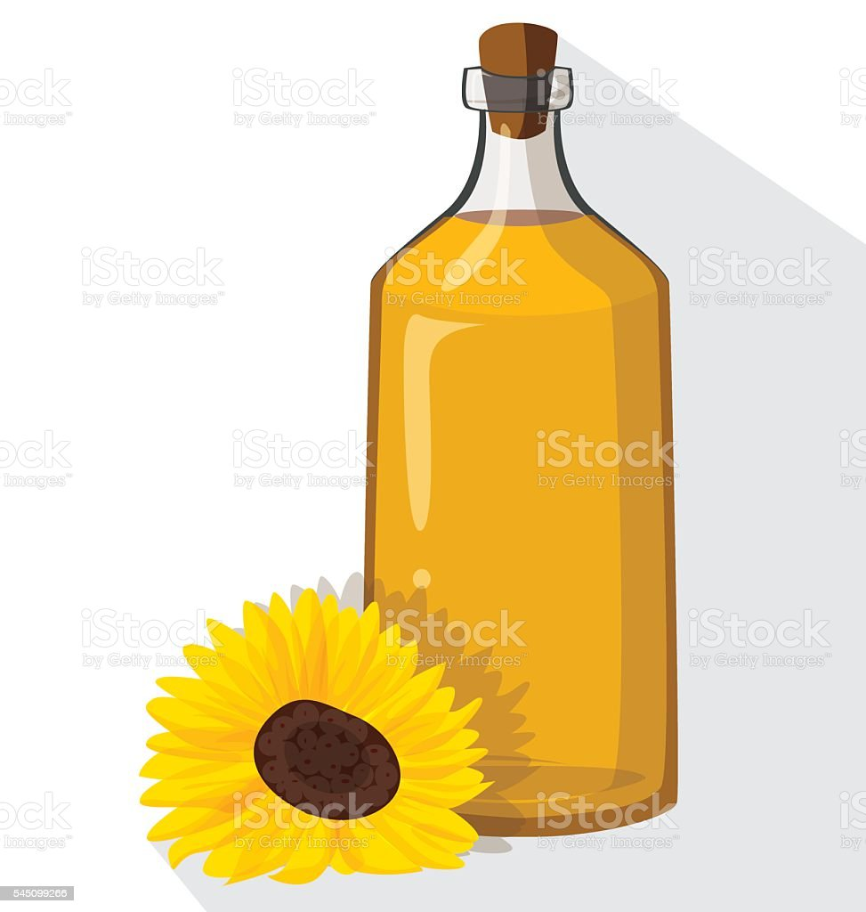 Glass bottle of sunflower oil with cork vector art illustration