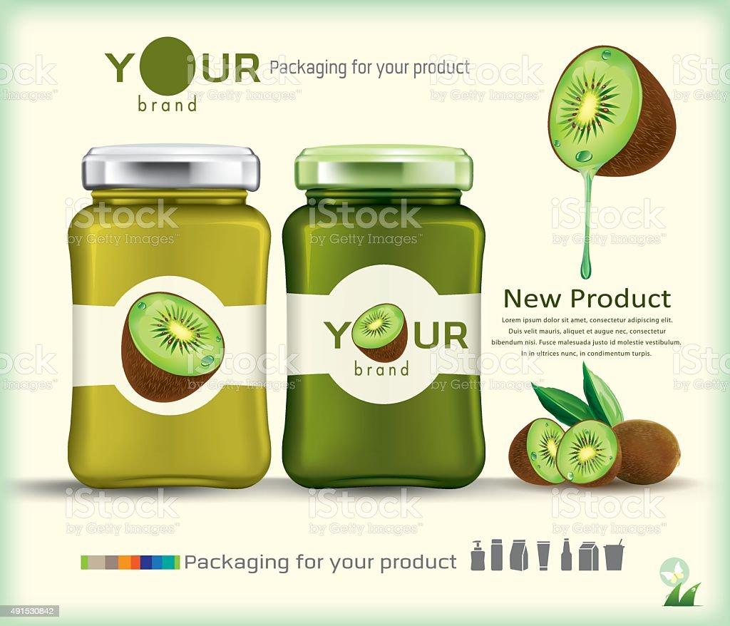 Glass bottle packaging for fruit jam design.kiwi fruit vector art illustration