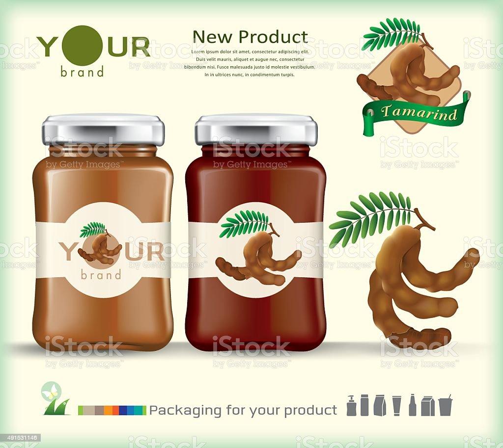 Glass bottle packaging for fruit jam design.vector vector art illustration