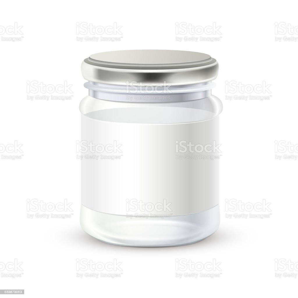 glass bottle with blank label on it vector art illustration