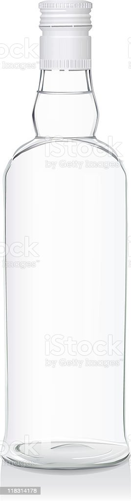 Glass bottle with Russian vodka (serie of images) vector art illustration