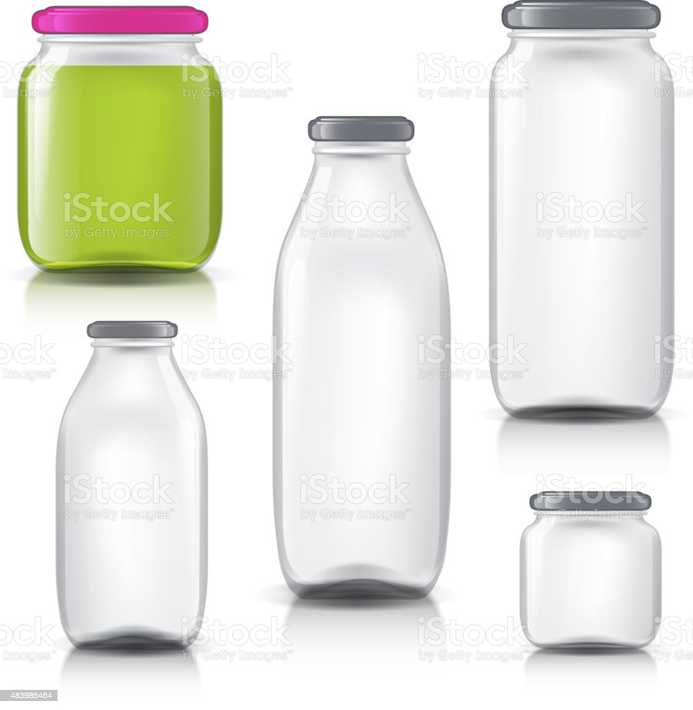 Glass bottles empty transparent set. Template of glass jars. Bank vector art illustration