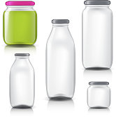 Glass bottles empty transparent set. Template of glass jars. Bank