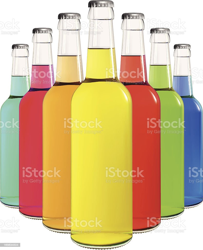 Glass bottles filled with colorful soda royalty-free stock vector art