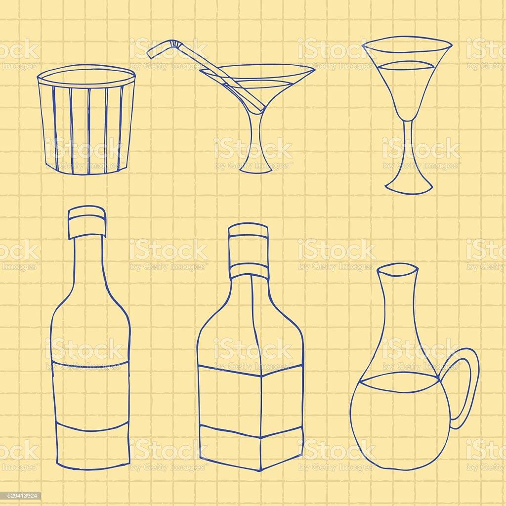 glass bottles vector art illustration