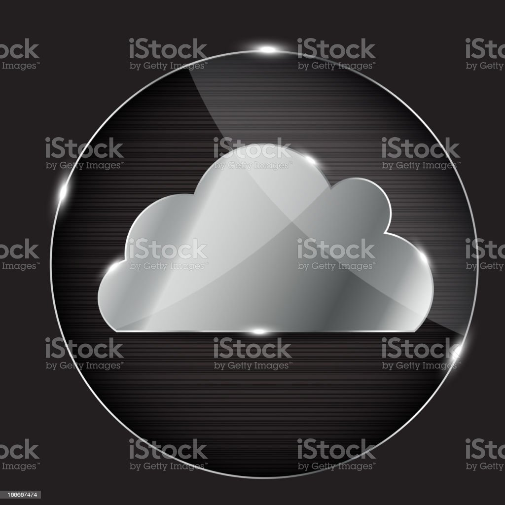 A glass button depicting a gray cloud icon royalty-free stock vector art