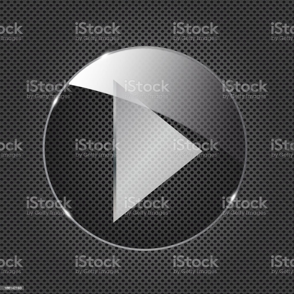 Glass  button icon on metal background. Vector illustration royalty-free stock vector art
