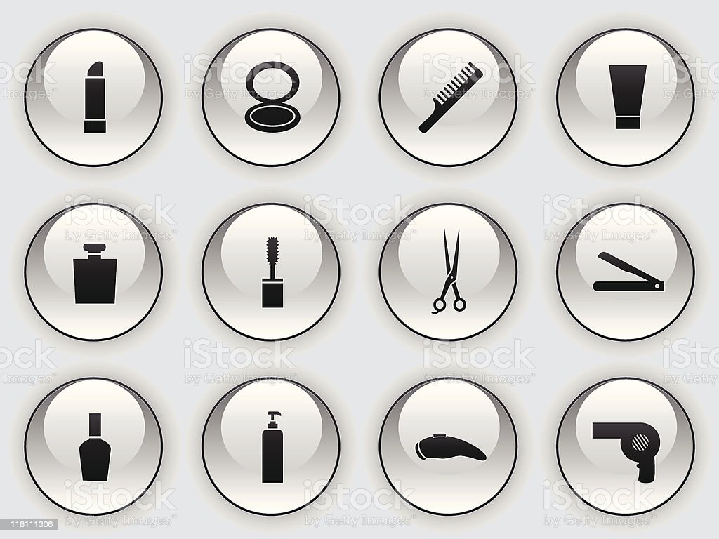 glass button icons - daily necessities royalty-free stock vector art
