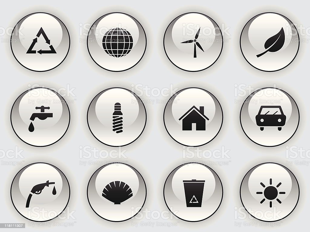 glass button icons - environmental issues royalty-free stock vector art