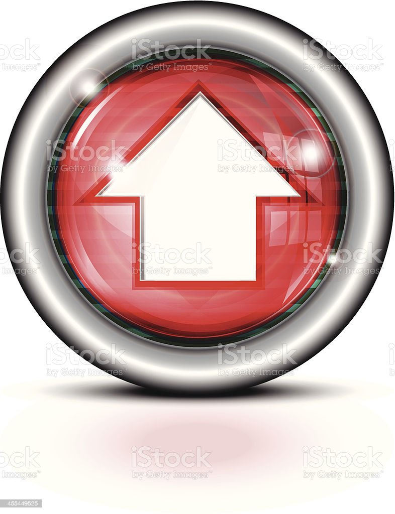 Glass Button Metal Rim | Arrow Red royalty-free stock vector art