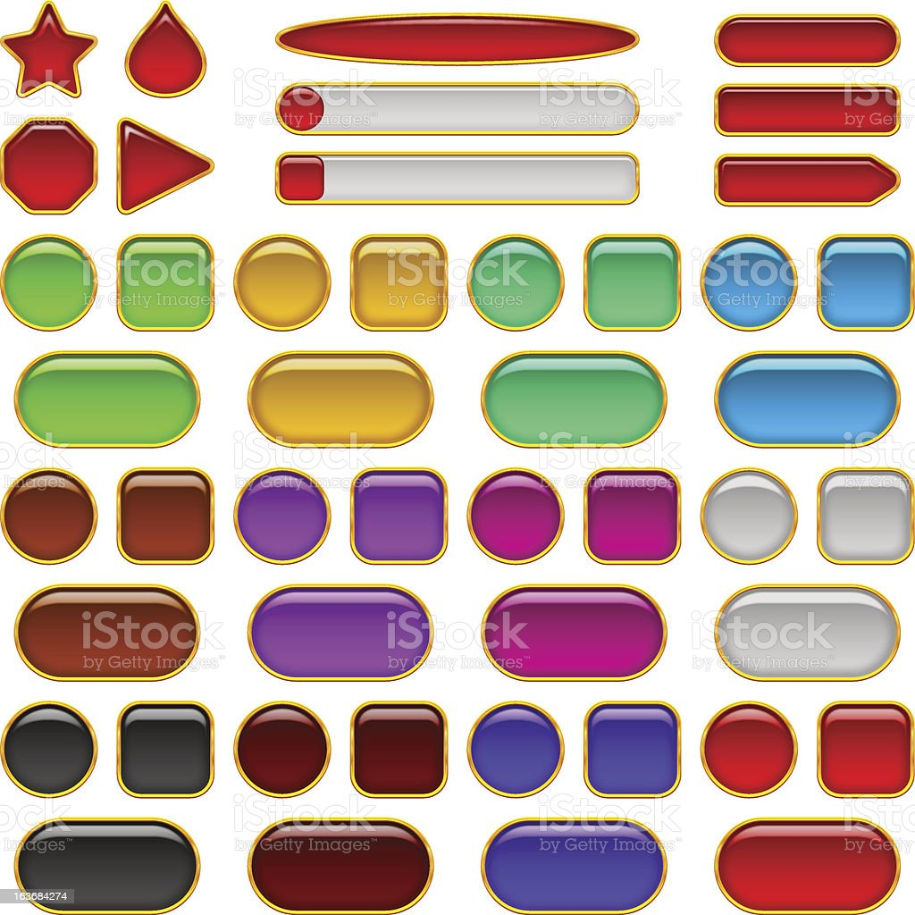 Glass buttons of various colors, set royalty-free stock vector art