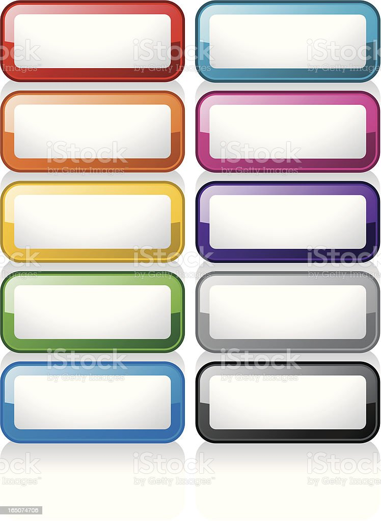 Glass Buttons: Rectangles royalty-free stock vector art
