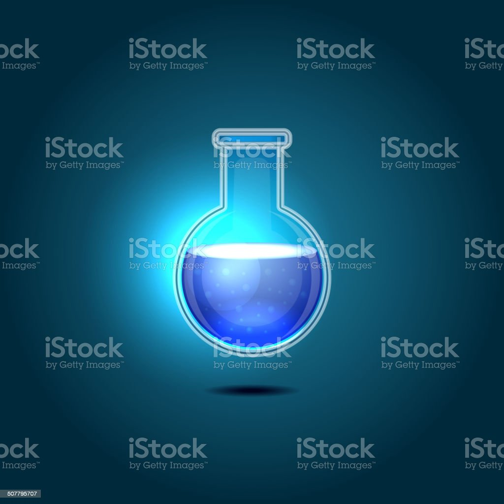 Glass Chemical Flask with Blue Toxic Liquid. Vector royalty-free stock vector art