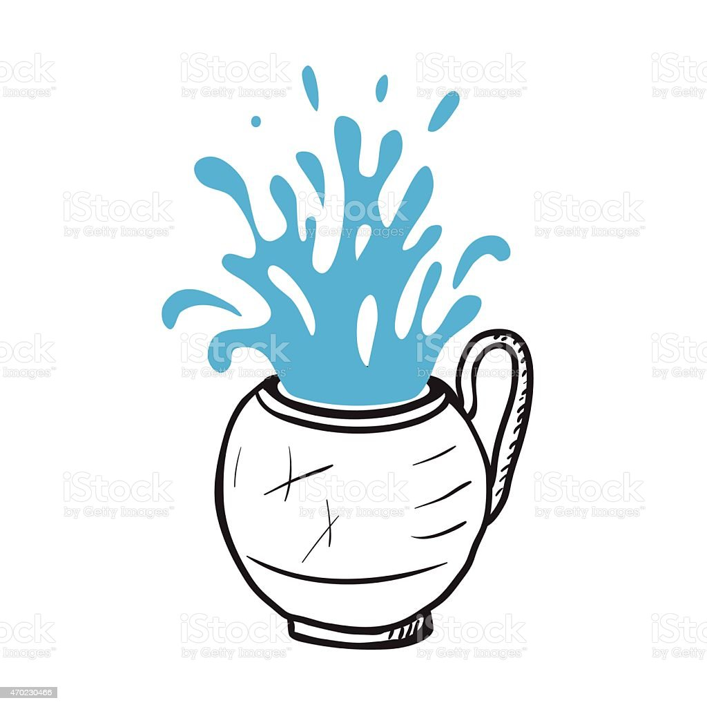 Glass cup with water, vector illustration vector art illustration