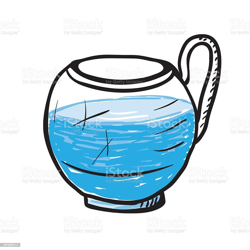 Glass cup with water, vector illustration. vector art illustration