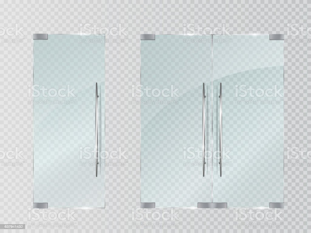Glass doors isolated on transparent background. Vector vector art illustration