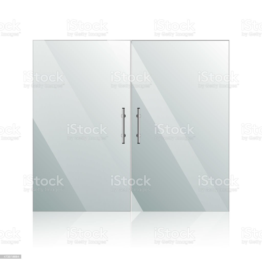 Glass doors with chrome silver handles set vector art illustration