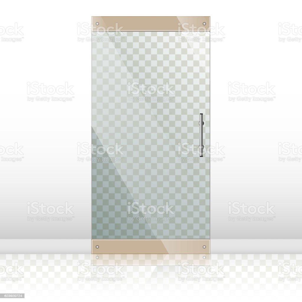 Glass doors with chrome silver handles set vector art illustration
