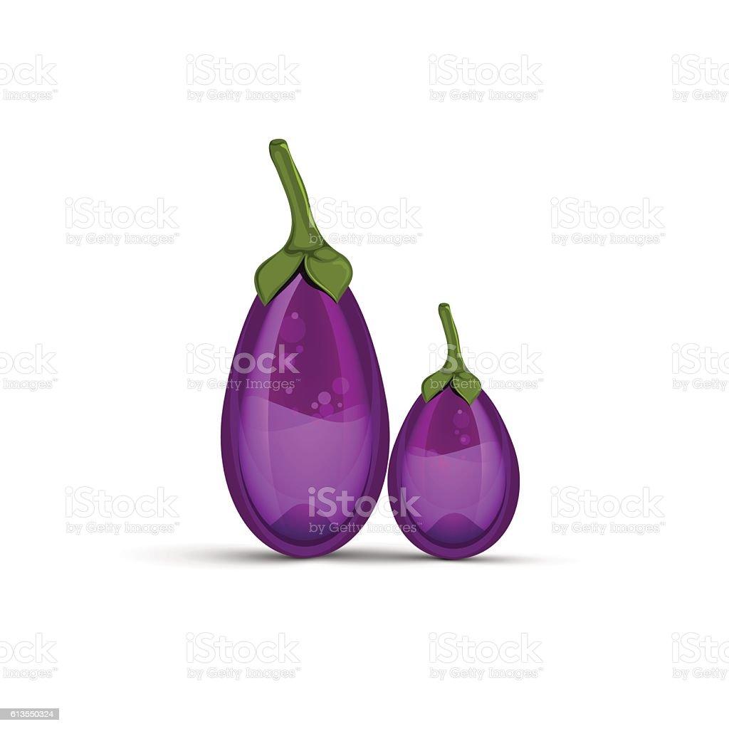 Glass eggplants vector art illustration