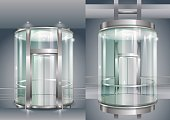 Glass enclosed elevator