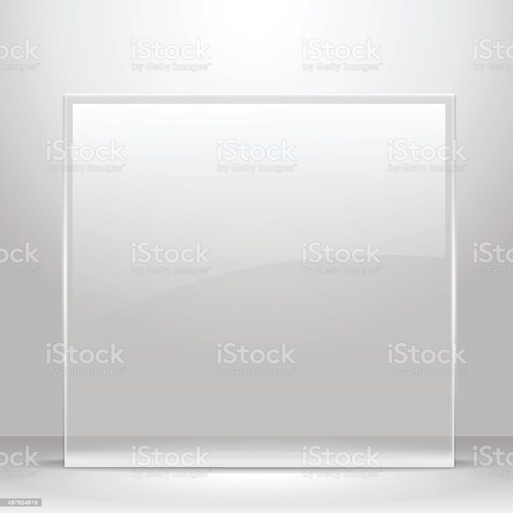 Glass frame for images and advertisement. vector art illustration