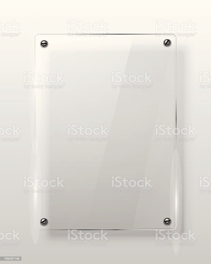 Glass framework bolted to the wall vector art illustration