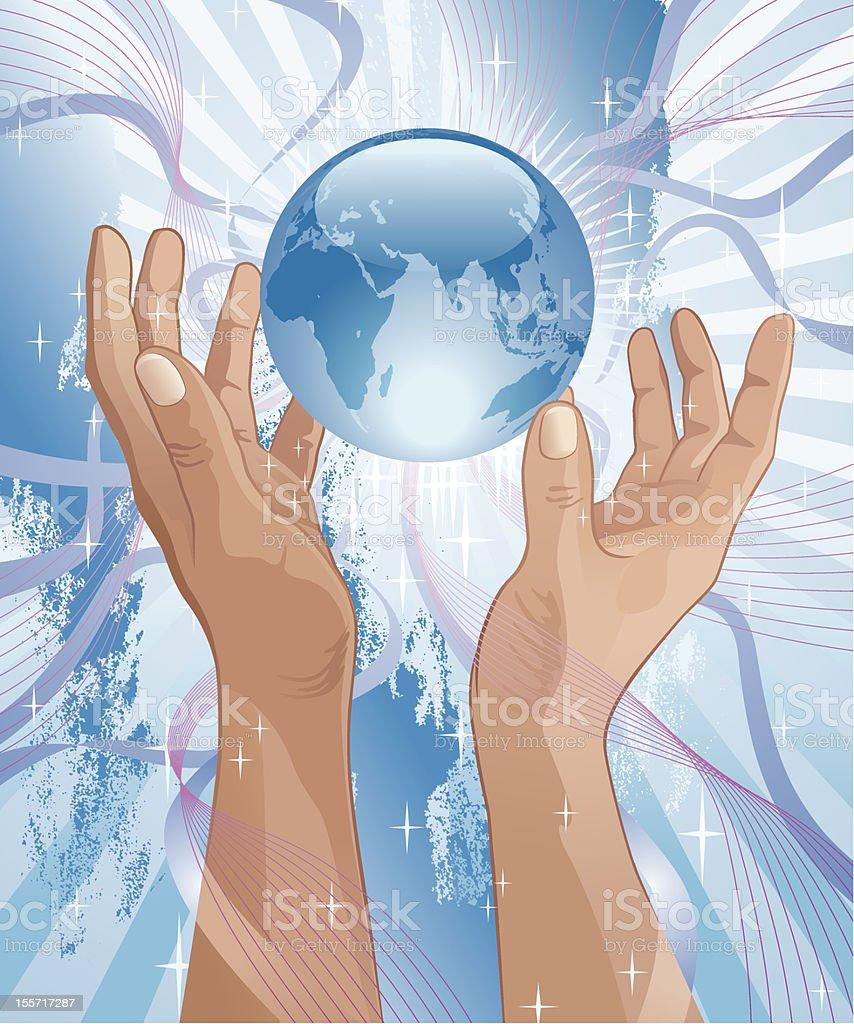 Glass Globe Between Praising Hands Vector royalty-free stock vector art