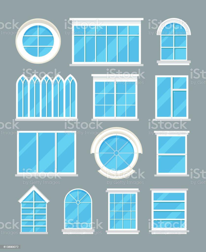 Glass home windows types vector flat icons vector art illustration
